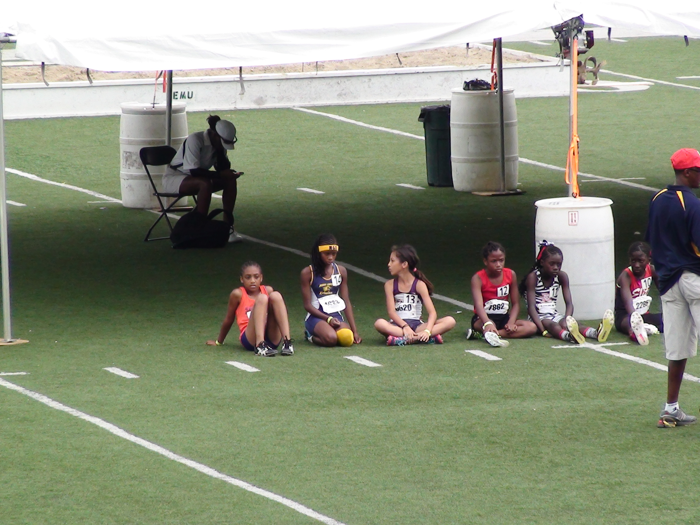 Michelle waiting to run her 800m final
