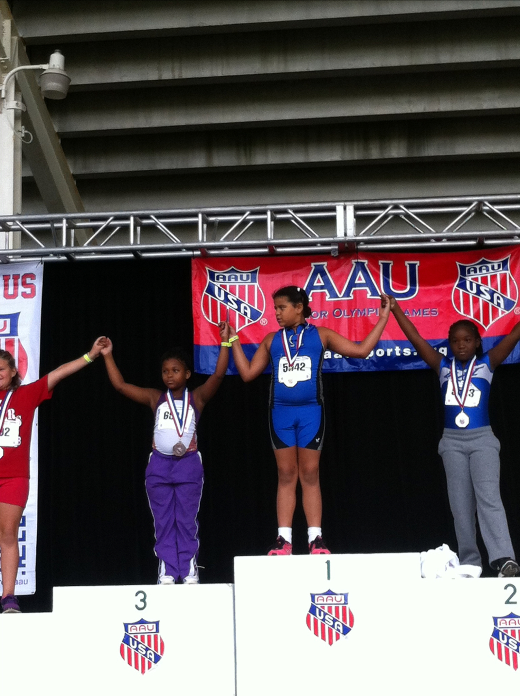 Octavia on the podium for the shot put