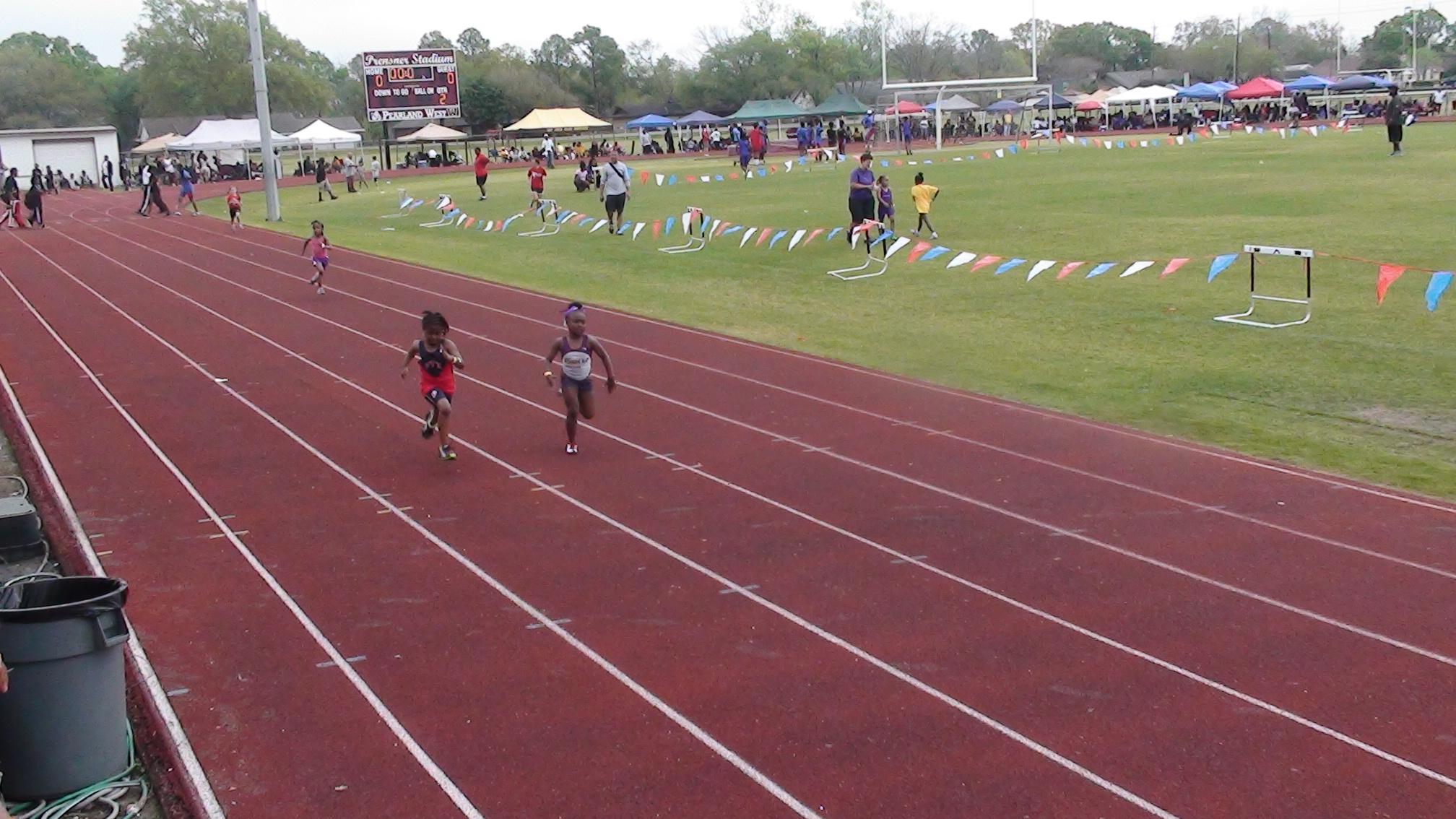 Kendahl (aka Boochie) running the 200m