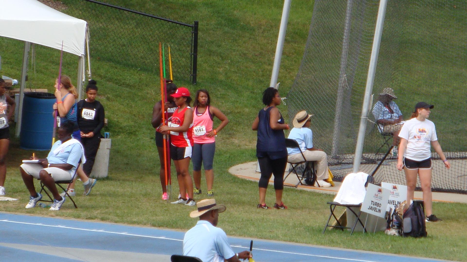 Maurisa awaiting her turn at the javelin