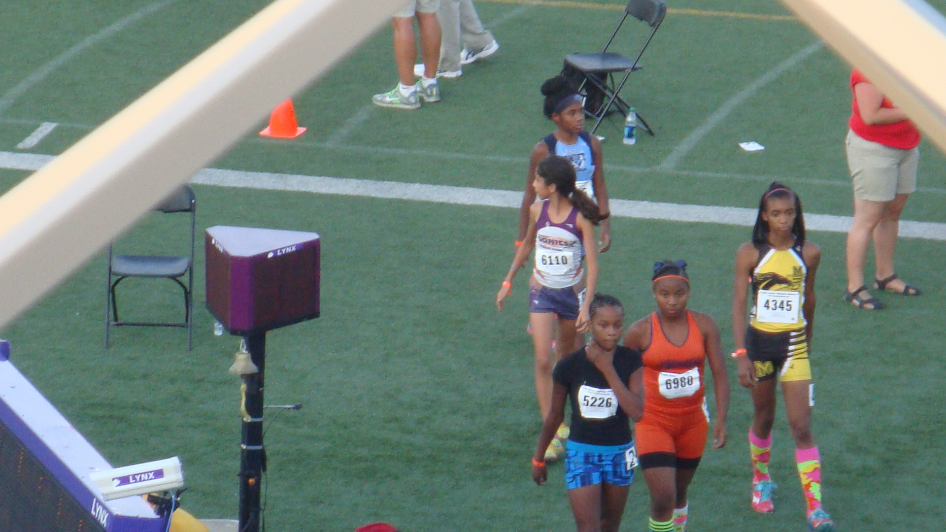 Michelle coming on to the track for the 400m