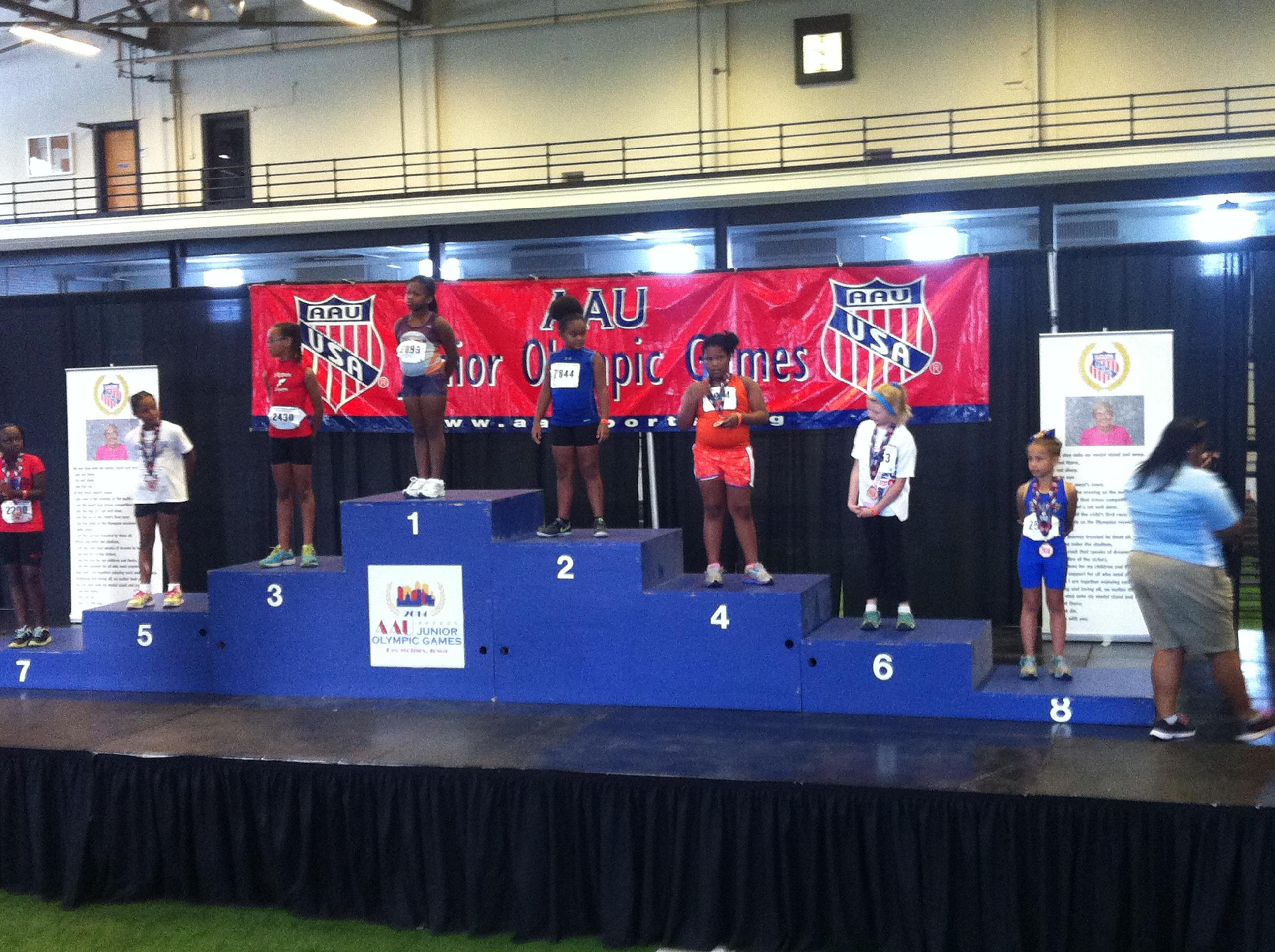 Octavia on the podium for the shot put
