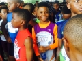 Jonathan getting ready for the 100m