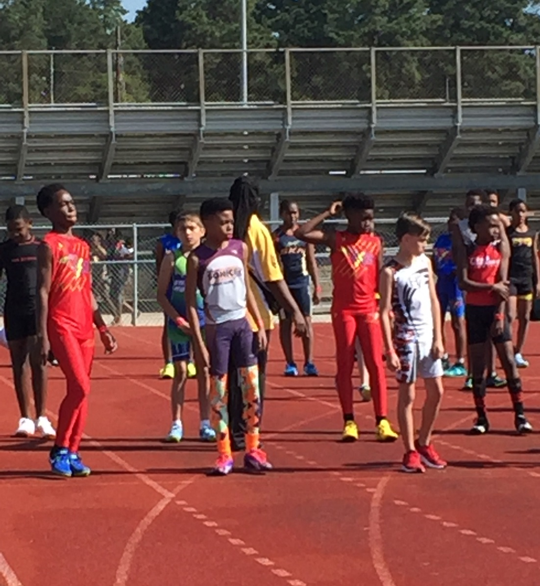 Jonathan preparing to run the 100