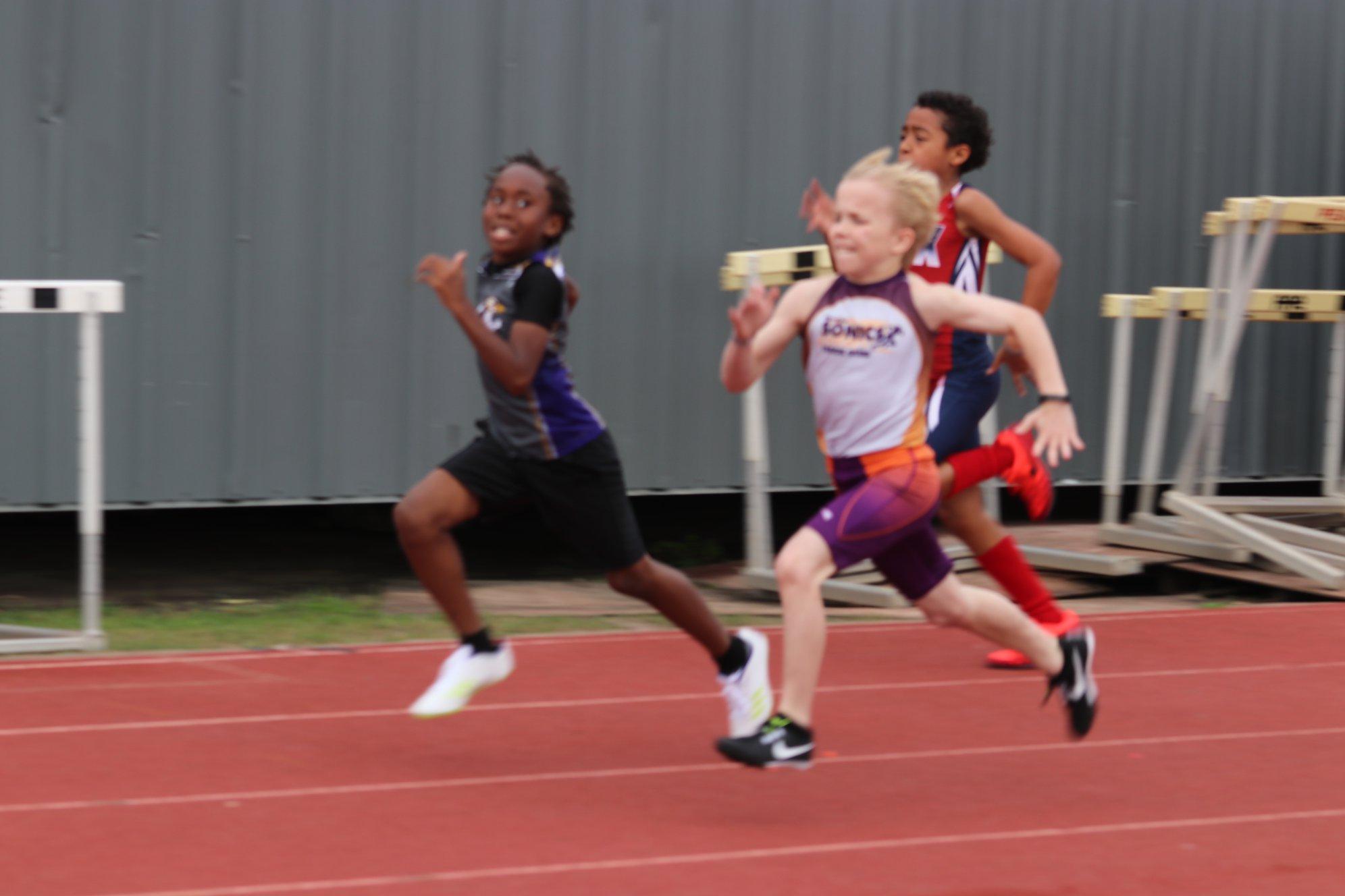 Morgan running the 100