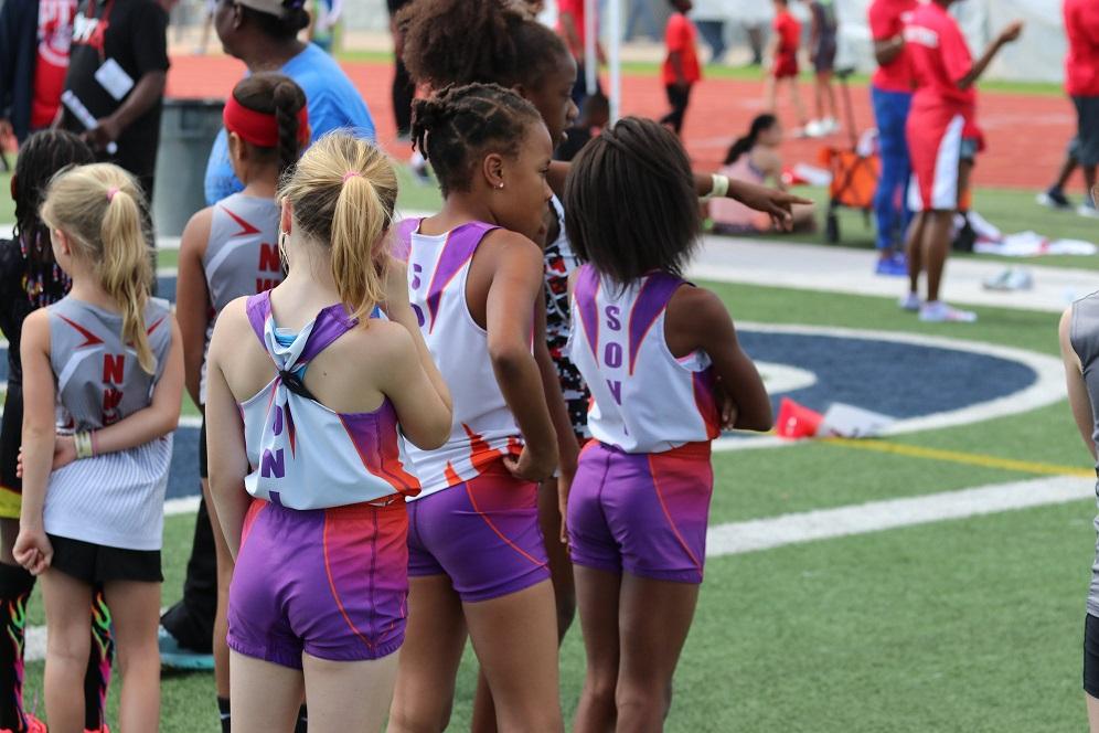 Bantam girls waiting to run the 800