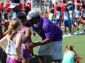 Coach Tim preparing the girls for the 800